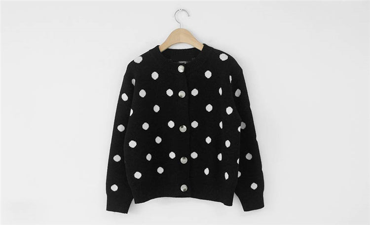 [Korean Style] Poka Dots Button Down Knit Cardigan