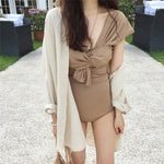 [Korean Style] Gala Solid Color Wrap One Piece Swimwear