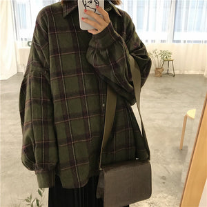 [Korean Style] Chillo Oversized Plaid Shirts with Puff Sleeve