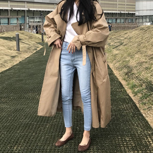 [Korean Style] Ariel Double Breasted Long Trench Coat