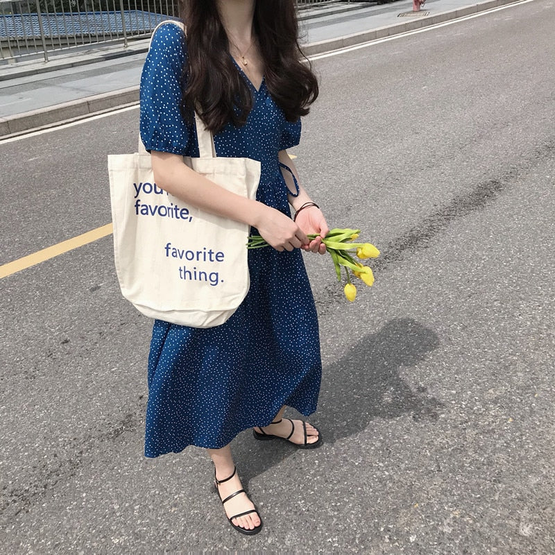 [Korean Style] Heizz Blue Polka Fot Maxi Dress