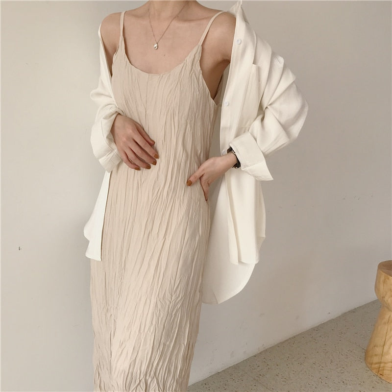 [Korean Style] Drizy Spaghetti Maxi Dress