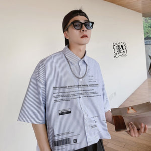 [Korean Style] Vertical Striped Printing Shirts