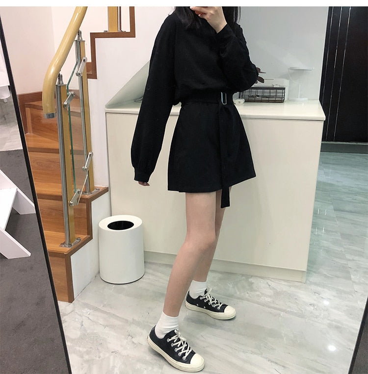[Korean Style] 7 Color Casual Belted Mini Dress