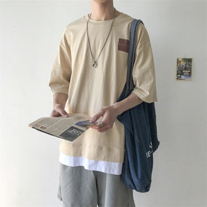 [Korean Style] Lamos Casual Cotton 1/2 T-shirts