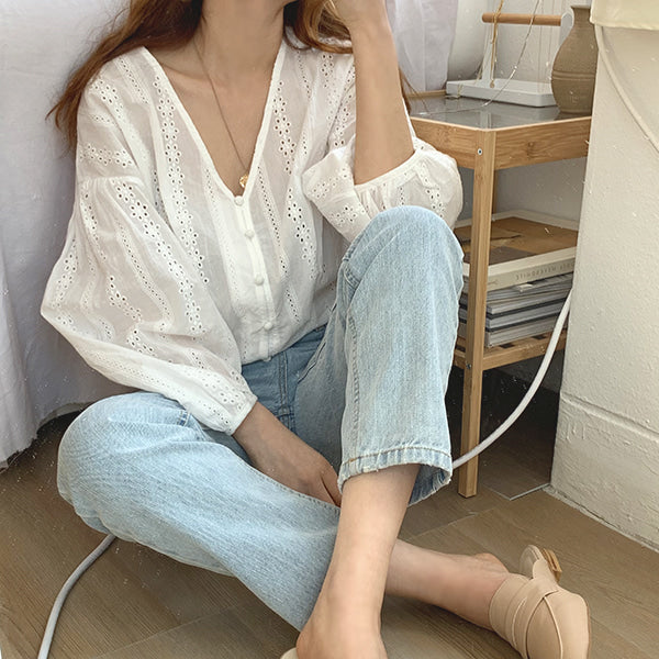 [Korean Style] Moda Loose Fit Lace V-neck Cotton Blouses