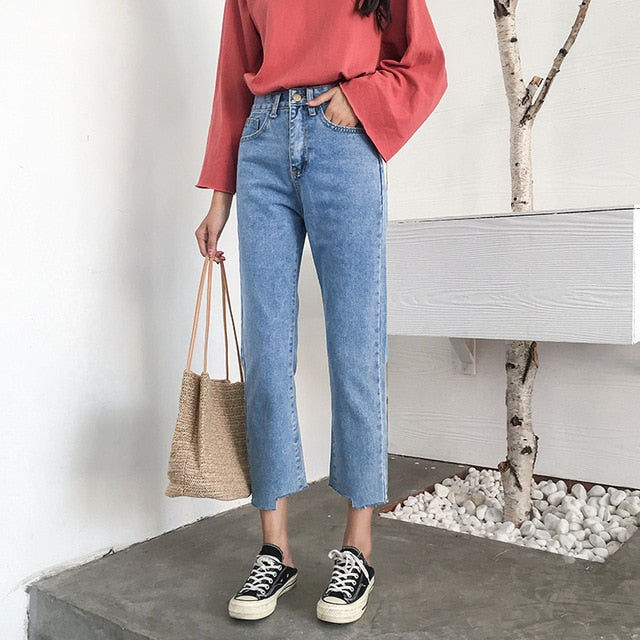 [Korean Style] Sasean High Waist Cropped Jeans