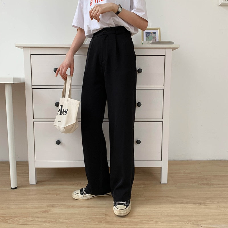 [Korean Style] Black Sesame Full Length Staight Wide Leg Pants