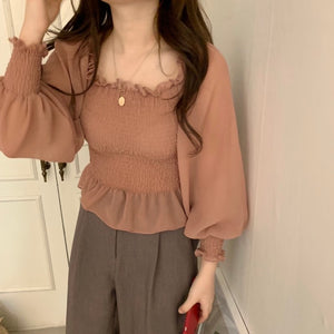 [Korean Style] Venta Square-neck Ruffle Blouse