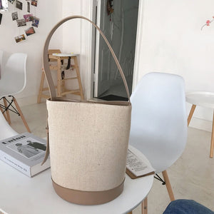[Korean Style] Fay Canvas Shoulder Bucket Bag