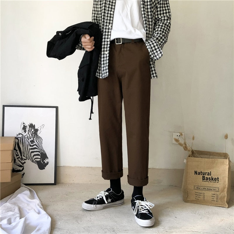 [Korean Style] Darl Straight Ankle-cut Pants