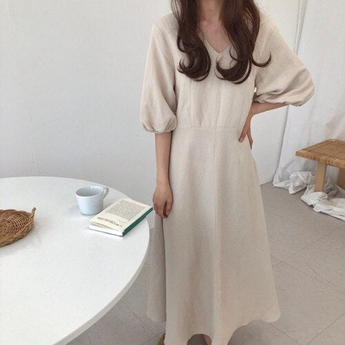 [Korean Style] Ashley Minimal Mazi Dress with Puff Sleeves