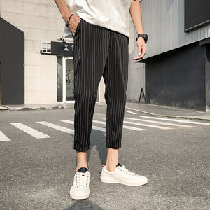 [Korean Style] Deco Stripe Black/Navy Casual Pants