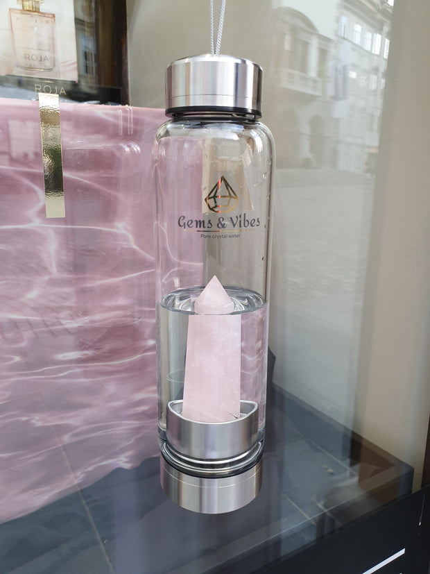 Rose Quartz Crystal Water Bottle