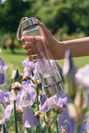Clear Quartz Crystal Water Bottle - Gems and Vibes