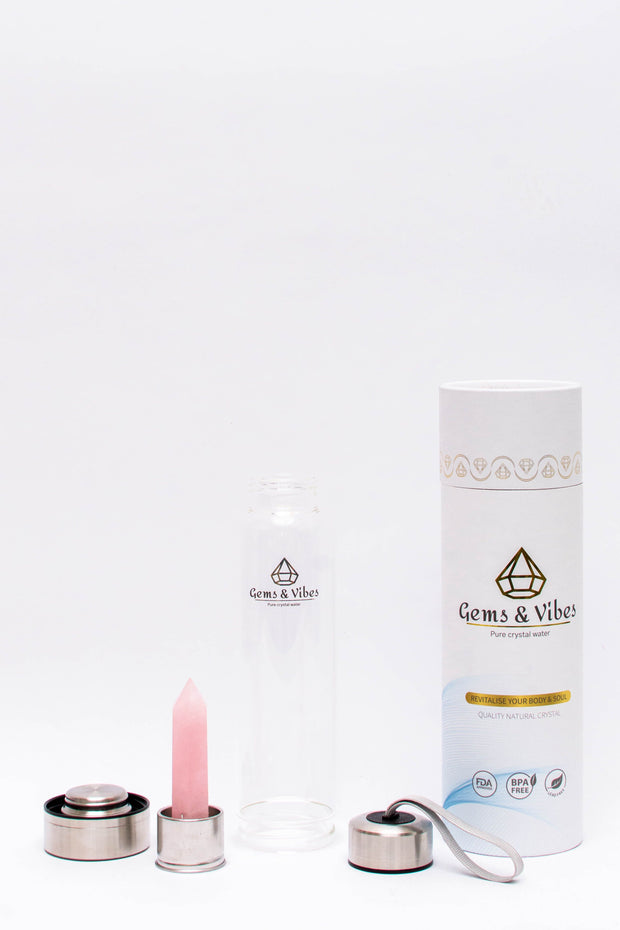 Rose Quartz Crystal Water Bottle - Gems and Vibes