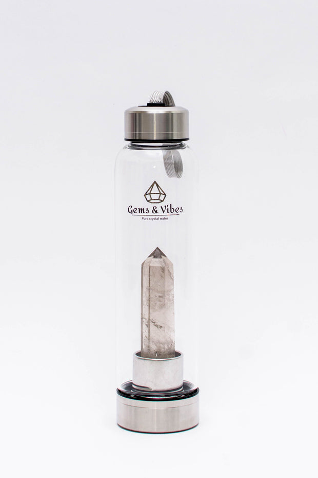 Smoky Quartz Crystal Water Bottle - Gems and Vibes