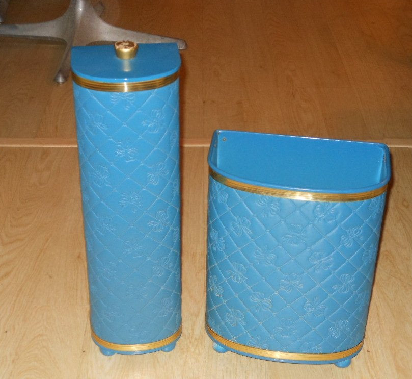 Vintage Detecto Toilet Paper Holder and Wastebasket