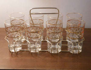 Gold Etched Glasses in Carrier