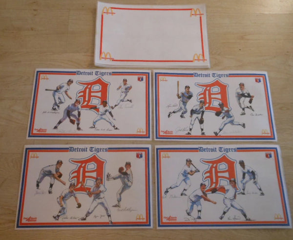 1982 McDonald's MLB Detroit Tigers Placemat Set