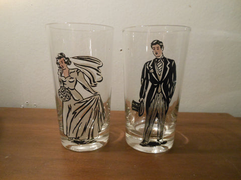Vintage Bride and Groom Glasses