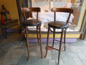 Deco Bentwood Bar Stool Pair