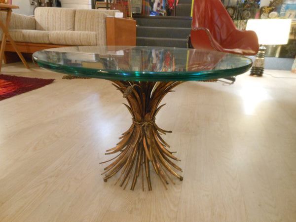 Hollywood Regency Sheaf of Wheat Side Table