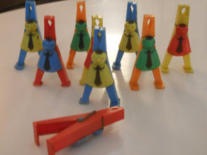 Vintage Plastic Clothespin Men