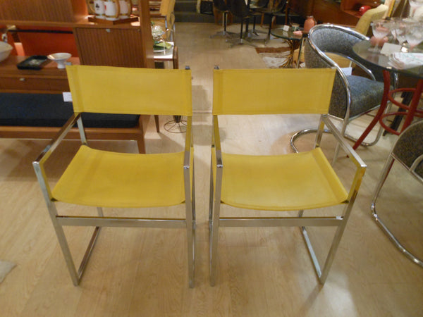 2 Modern Chrome and Vinyl Accent Arm Chairs