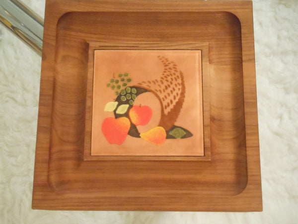 Ernest John Walnut and Enamel Serving Tray