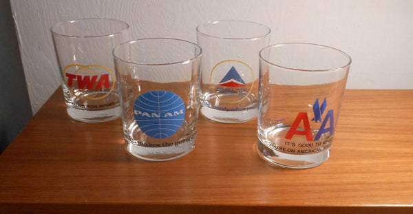 Vintage Set of 4 Airline Rocks Glasses