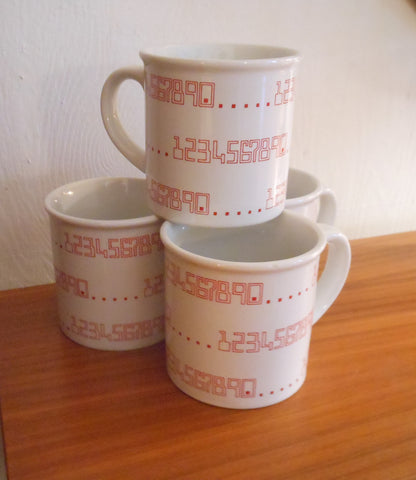 4 Horchow Japan Numerical Mugs