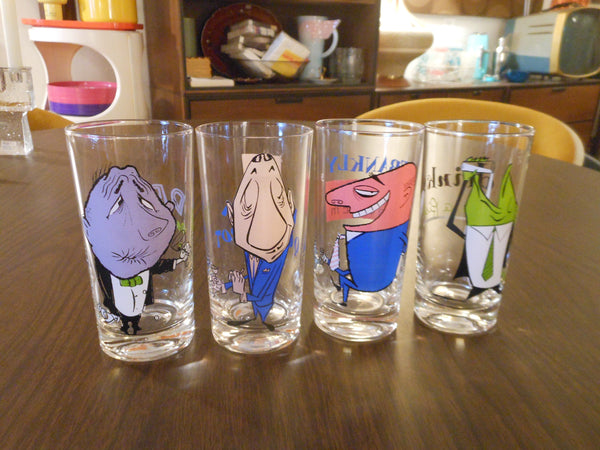 Set of Vintage Bar Drinking-Themed Glasses