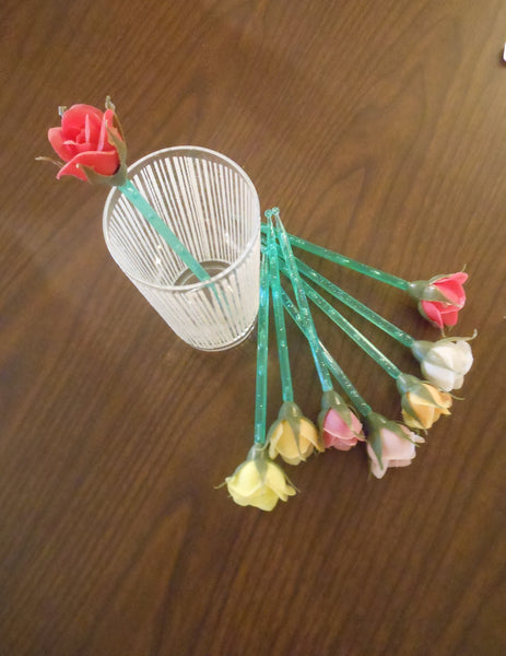 Kitschy Plastic Rose Swizzle Sticks