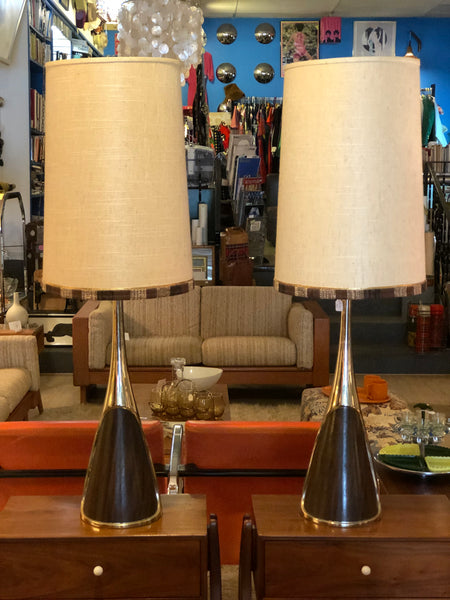 MCM Pair Brass and Wood Lamps