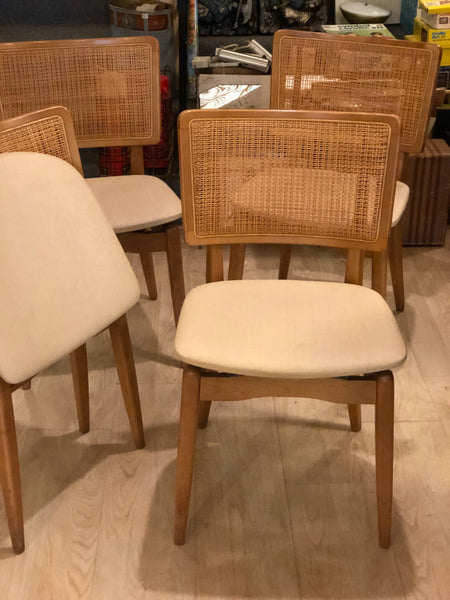 4 Stakmore Cane Back Folding chairs