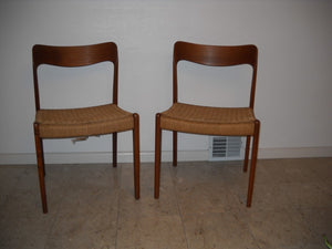 Teak and Cord Chairs