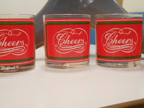 "Set of 4 Holiday ""Cheers"" Glasses"