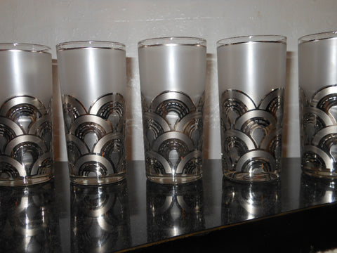 Vintage Frosted & Silver Glasses