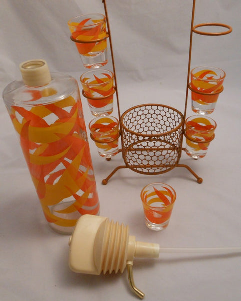 Hazel-Atlas Vintage Flame Bar Set