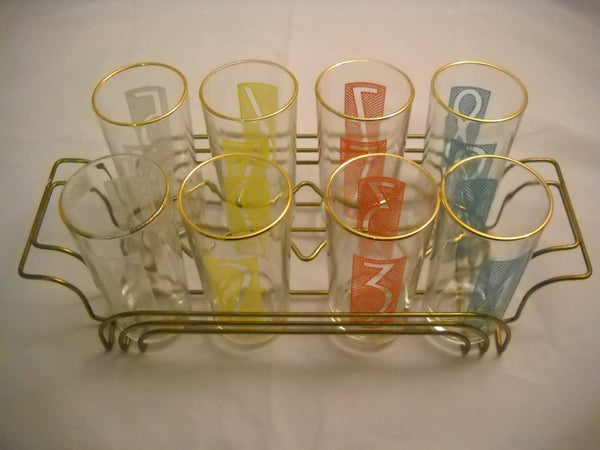 Set of 8 Numbered Glasses