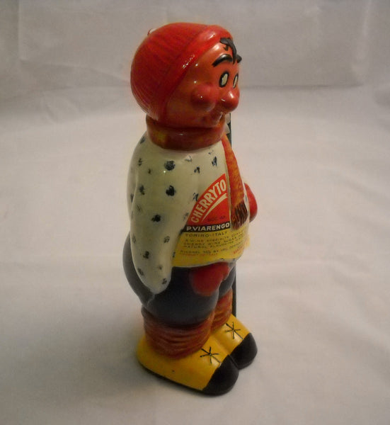 Vintage Handpainted Skier Bottle