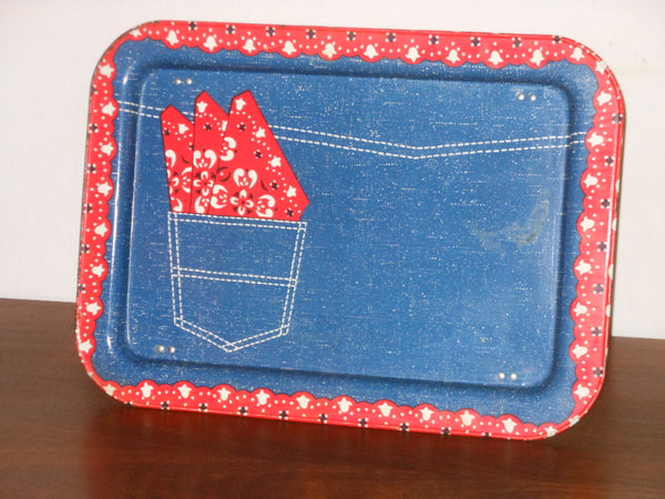 Vintage Blue Jeans Metal TV Tray