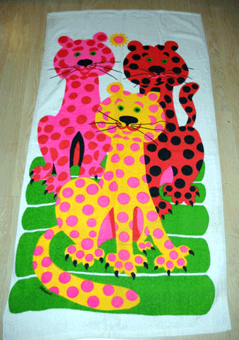 Vintage Day-Glo Cats on the Beach Towel
