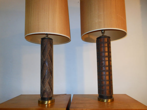 Pair Wallpaper Roller Lamps