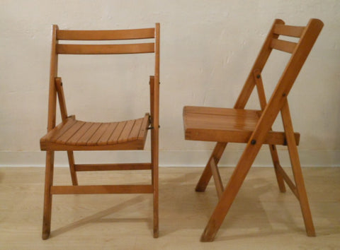 Folding Wood Slat Chairs