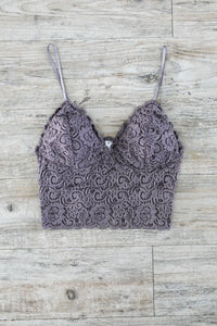 Cropped Lace Camisole In Dusk