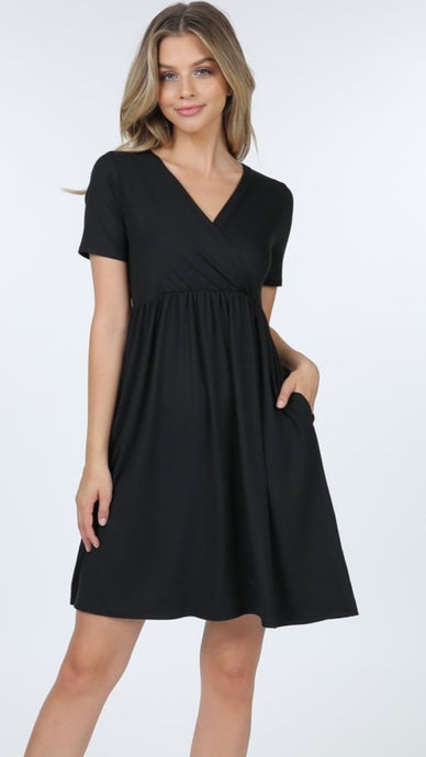 Yvonne empire waist dress in black - Boho Valley Boutique