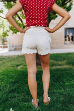 Load image into Gallery viewer, Amber Scalloped Hem White Shorts - Boho Valley Boutique