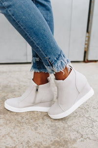 Hole In One Suede High Tops in Light Gray - Boho Valley Boutique